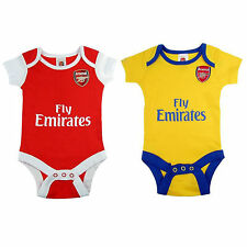 Arsenal FC Official Football Gift 2Pk Home Away Kit Baby Bodysuits (RRP £14.99!)