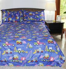 Boys Comforter Set - Diggers and Movers Blue - Kids Style - Twin , Full