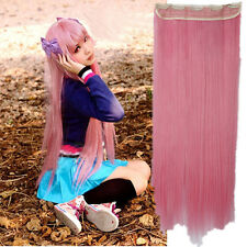 Cosplay Clip In Hair Extensions half full head one piece pink purple Extension