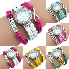Girls Candy Color Charm Bracelet Wristwatch Bangle Crystal Dial Leather Watch