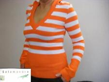 Damen Strick Pullover mit Kaputze in Orange-Weiß  gestreift orginal  Salamandra