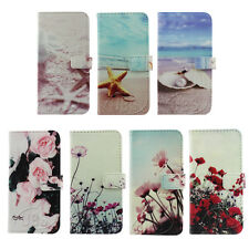 Floral Flowers Starfish Beach Wallet Flip PU Leather Case for iPhone4S 5 5S 5C 6