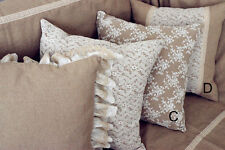 Cotton Linen Lace Cushion Pillow Cover Shabby Chic Country Farmhouse French