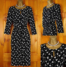NEW LAURA ASHLEY BLACK PINK GREY CLOVER LEAF VINTAGE 50s STYLE JERSEY DRESS 8-18