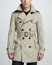 NWT BURBERRY Brit Mens Britton Midlength Nova Check Cotton Trench Coat Taupe