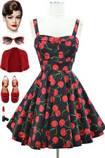 """50s Style *PLUS SIZE* PINUP BLACK CHERRY Bombshell """"PULL UP A CHERRY"""" Sun Dress"""