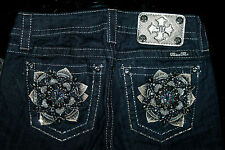 "$118 MISS ME ""EMBELLISHED FLOWER DESIGN"" DARK DENIM SKINNY JEAN"