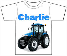 PERSONALISED TRACTOR/DIGGER T-SHIRT PRINTED WITH ANY CHILDS NAME GIRLS / BOYS