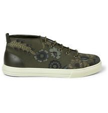 BNIB Genuine Gucci Leather Trim Flower Print Canvas Trainers Made In Italy