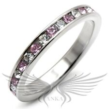 Brilliant Round Cut Top Grade Crystals 925 Sterling Silver Eternity Band LOAS911