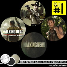 The Walking Dead SET OF 4 BUTTONS or MAGNETS or MIRRORS zombies pins shane #1135