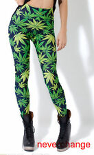 Sexy Hiphop Green Weed LUCKY Maple Leaf marijuana Print Leggings Tights Pants