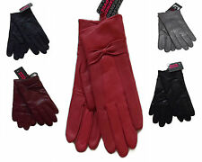 LADIES GENUINE REAL SHEEPSKIN LEATHER GLOVES COLORS BOW DETAIL FLEECE LINED