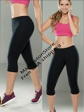 Casual Crops Classic Woman's Yoga Push Up BLACK Capris Virtual Sensuality Fit