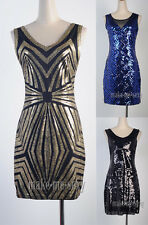 1920's Flapper Dress Great Gatsby Sequin Art Deco Gold Black Partywear MMS 3235