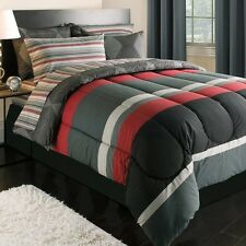 NEW Bed Bag Twin XL Red Black Gray Stripes Diamond 5 pc Comforter Sheets Set NWT