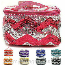 Cosmetic Bag Case Makeup Tote Cheer Bridesmaid Gift Luggage Sequin Chevron Print