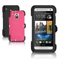 OtterBox Defender HTC ONE MINI Case & Holster Black / Papaya Pink Cover OEM New