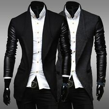 Fashion Men Faux Leather Sleeves Medium-Long Wool Sweater Cardigan Trench Coat