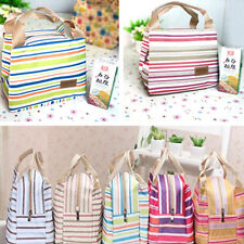 Thermal Insulated Portable Canvas Stripe Bag Lunch Totes Picnic Bag Carry Case