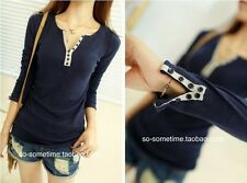 New Style Long Sleeve Bottoming Shirt Crew Neck Womens T-shirt Top Blouse Casual