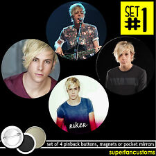 Riker Lynch SET OF 4 BUTTONS or MAGNETS or MIRRORS r5 glee ross badges pin #1196