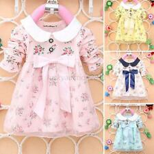 Cute Baby Girl Floral Tulle Princess Dress Kid Long Sleeve Autumn Skirt 0-4Y New