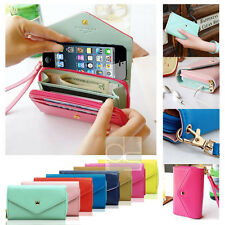 Crown Leather Wallet Case Purse Pouch with Wristlet Clutch For iPhone 6 Plus