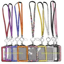 #QZO Shining Rhinestone Crystal Lanyard Sling Vertical Card ID Badge Holder