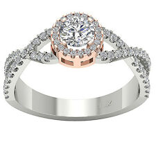 New Solitaire Halo Engagement Ring SI1/G Vintage 1.10 Ct Real Diamond Rose Gold