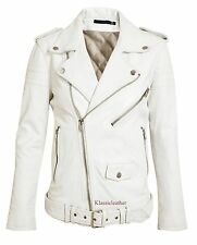 New Designer Belted Soft Lambskin Motorcycle Leather Jacket For Women EHS W - 62