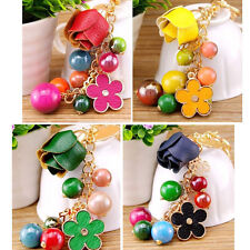 Candy Color Bead Tassel Keychain Charm Pendent Leather Rose Flower Bag Key Chain