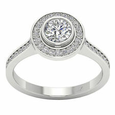 Solitaire Halo Engagement Ring Band SI1/G 1.30TCW Real Diamond Jewelry 14Kt Gold