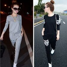 Rhinestone Panther Women Casual Two-piece Pullover Pants Tracksuit Sportswear