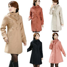 Women Wool Blend Stand Collar Fitted Double Breasted Big Hem Coat Jacket Trench