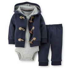 New Carter's 3 Piece Toggle Navy Cardigan Bodysuit Pant Set NWT 12 18 24m