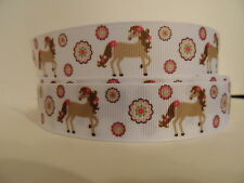 Grosgrain Ribbon, Fancy Girly Horse with Pink Flowers, Bay Horse, 7/8""