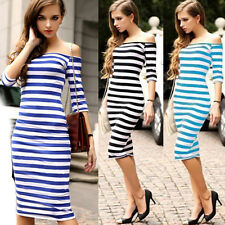 Sexy Womens Off Shoulder Print Stripe Bodycon Pencil Midi Party Evening Dress