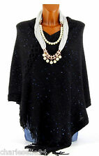 CharlesElie94 BENJAMINE Women's Black Warm Sequins Knitted Jumper Poncho Cape