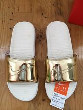 Nike Benassi Solarsoft Slide Liquid Metal Gold QS 10, 11, 12 Men and Women