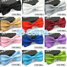 Fashion Solid Satin Men's Adjustable Tuxedo Bowtie Wedding Party Bow Tie Necktie