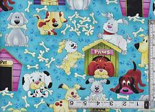 PATCHWORK/CRAFT FABRIC FAT QTR IN THE DOG HOUSE - CARTOON DOGS  100% COTTON