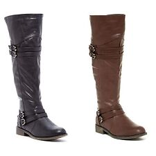 Womens Riding Boots Knee High Flat Buckle Faux Leather Boot Brown or Black New