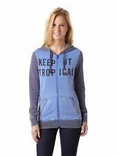 Roxy Juniors New Eden Text Zip Up Hoodie-Blue