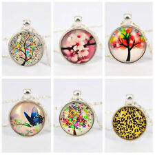 Charming Jewelry Tree of Life Folk Art Pendant Necklace,Glass Cabochon Art Image