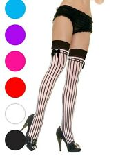 Lycra Sheer Pin Stripe Thigh High Stockings - Leg Avenue 9222