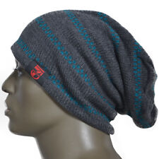 Men Stripe Oversized Beanie Slouch Knit Skull Cap Winter Hat Unisex