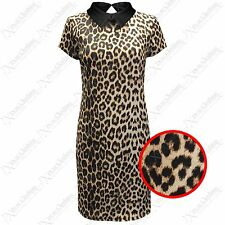 NEW LADIES LEOPARD PRINT PETER PAN COLLAR DRESS WOMENS BODYCON DRESSES LOOK TOP