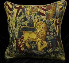 LION & SHIELDS Piped SCATTER CUSHION Cover Medieval Tapestry Design 42cm sq