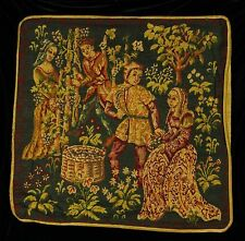 Decorative Pillow Cover HARVEST COUPLES Piped SCATTER CUSHION Medieval Tapestry